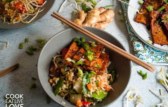 Ginger Soy Cauliflower Fried Rice & Asian BBQ Tofu