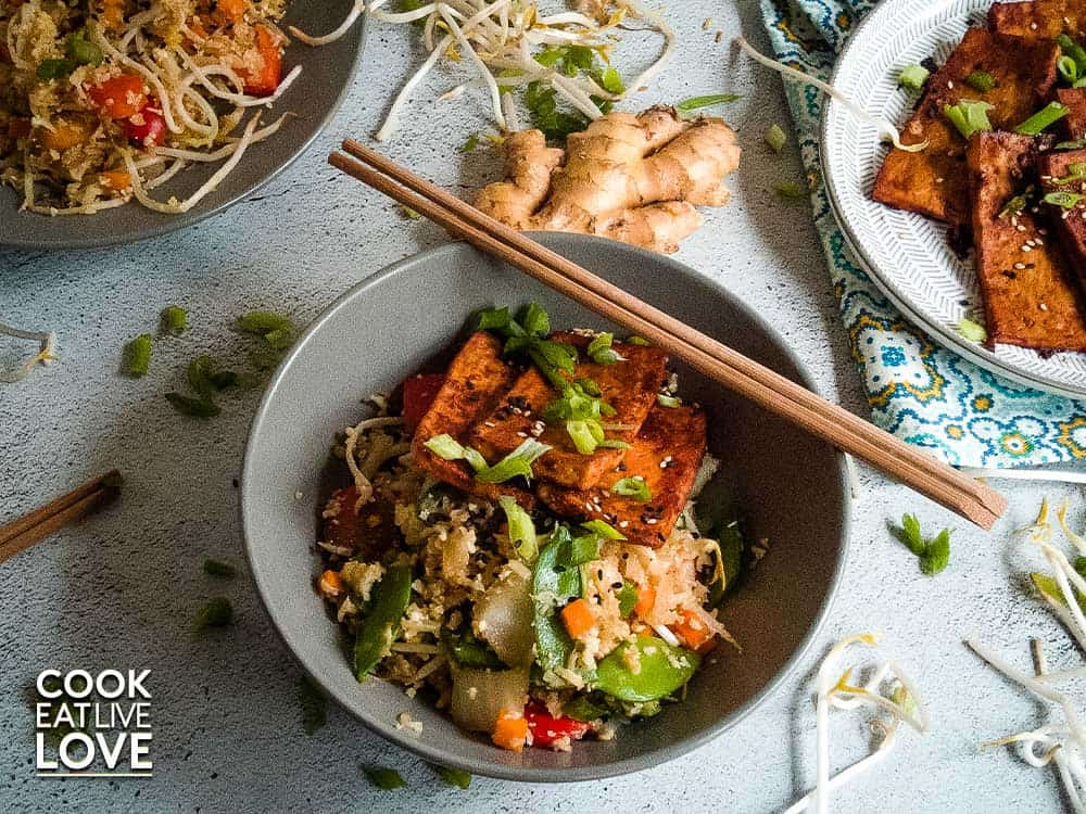 Ginger Soy Cauliflower Fried Rice & Asian BBQ Tofu
