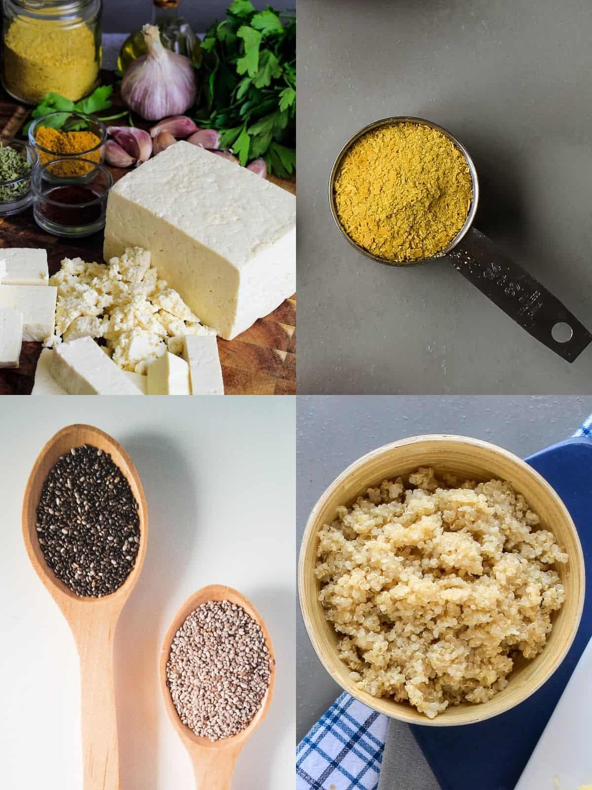 Collage of plant based breakfast ingredients