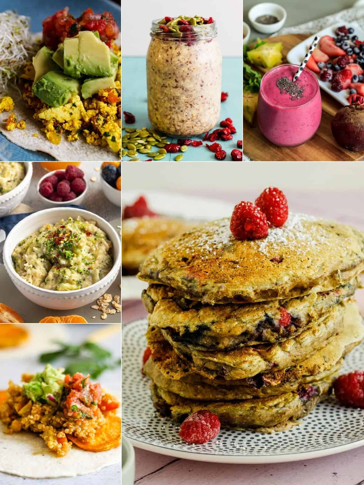 Collage of vegan breakfast reicpes