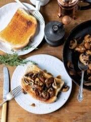 Mushroom on toast on a plate