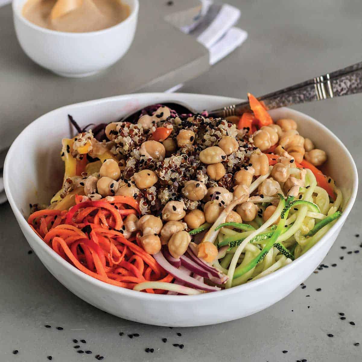 Veggie spiral salad in a bowl