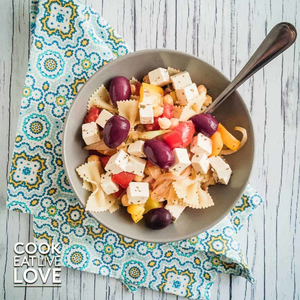 Tofu feta is the star in this pasta version of a greek salad.