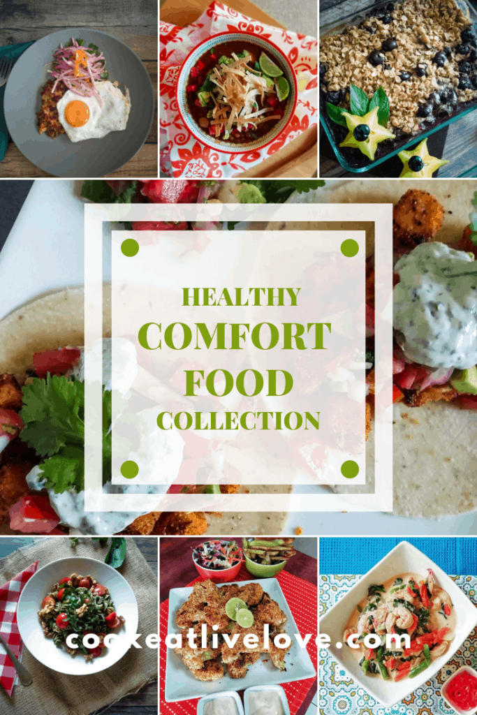 Pin for pinterest of healthy comfort foods