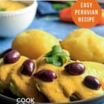 pin for pinterest graphic with potatoes and huancaina sauce picture