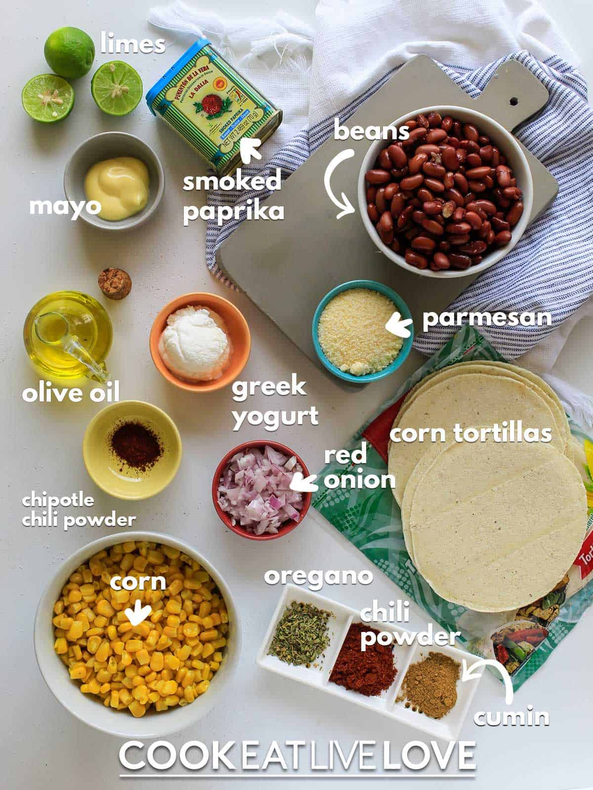 Ingredients to make tostadas on table with text labels.