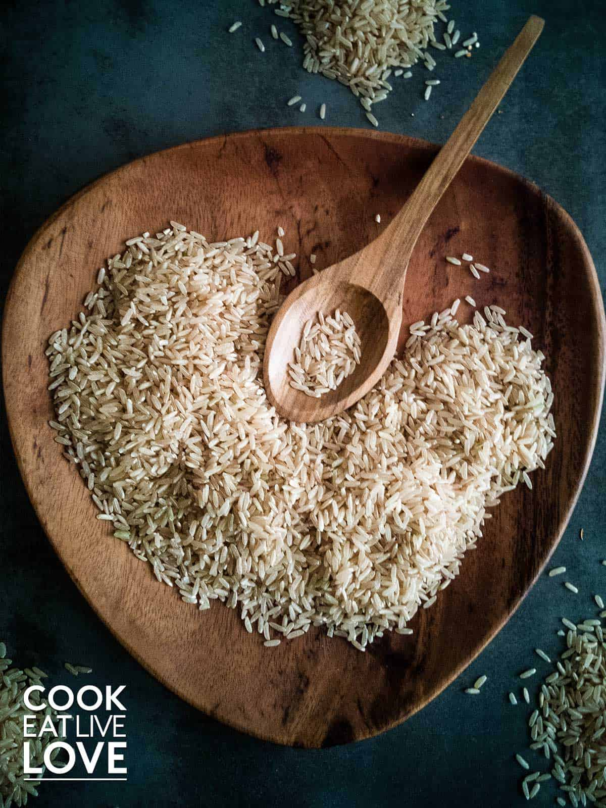 rice on a plate with a spoon