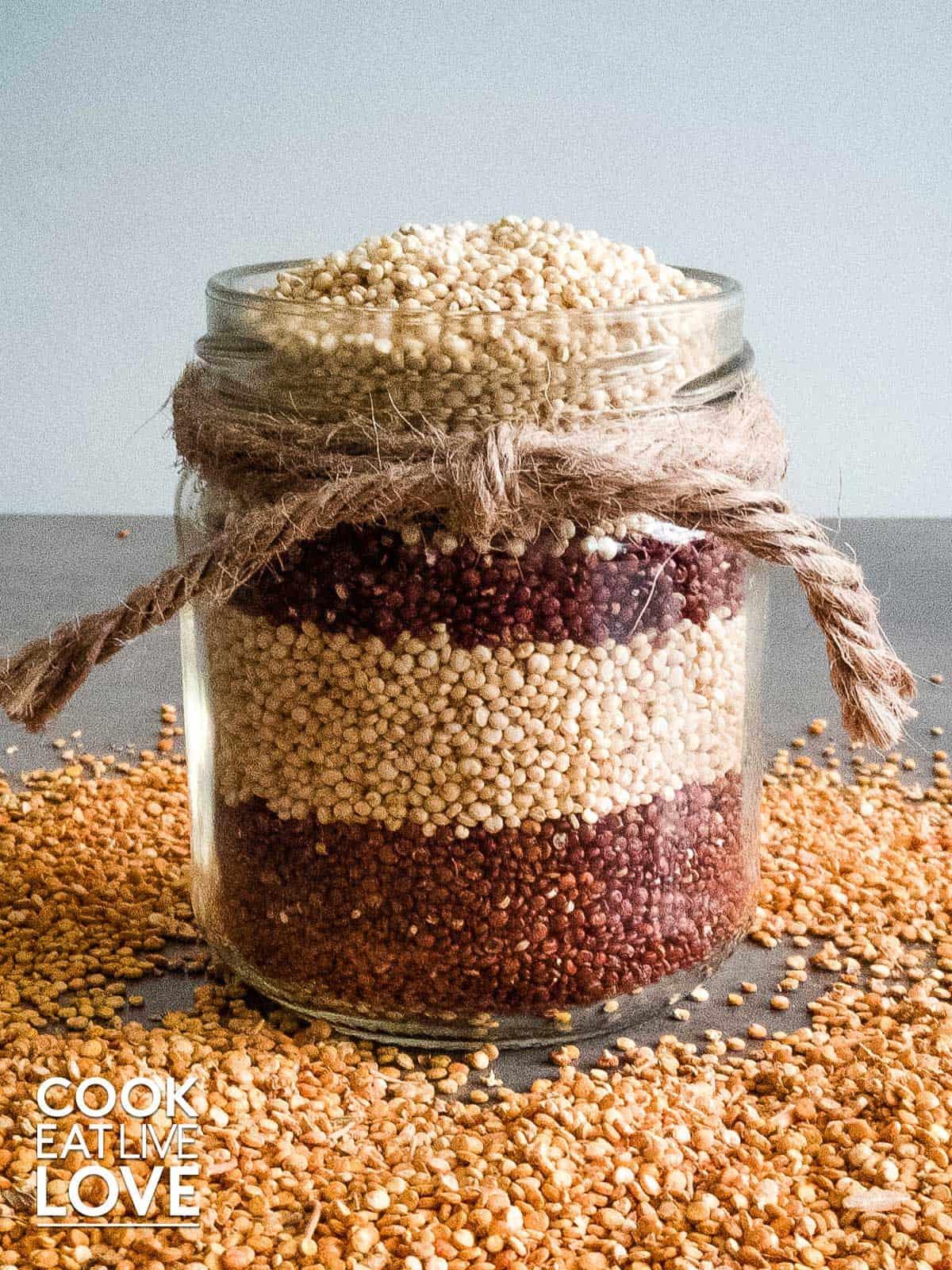 quinoa in a jar
