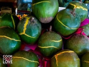 Lucuma is a great smoothie booster when you want more sweetness but don't want something that won't impact your blood sugar, Lucuma is dark green on the outside.