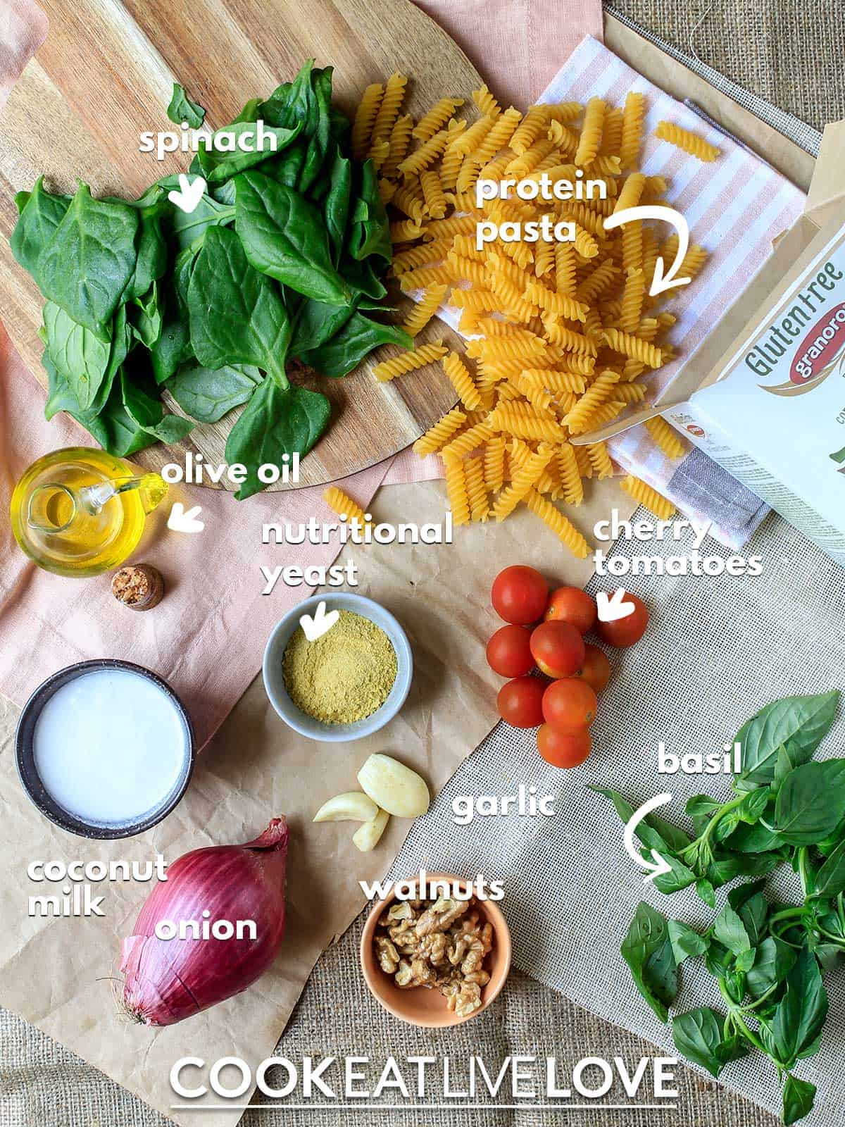 Ingredients to make spinach pesto pasta on table with text labels