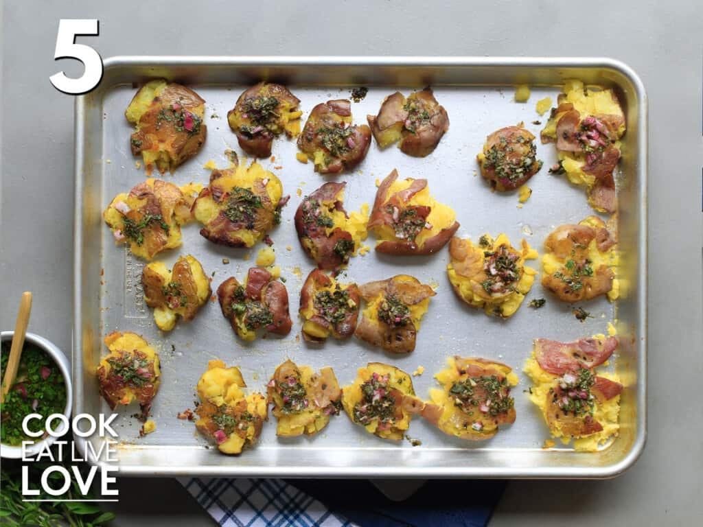 Chimichurri potatoes on baking sheet