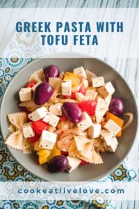 Greek pasta with tofu feta pin for pinterest.