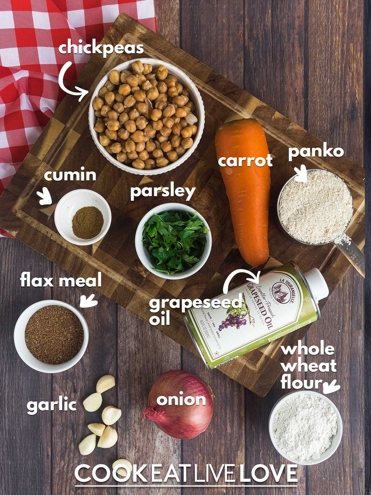 Ingredients to make vegan chickpea burgers on the table with text labels