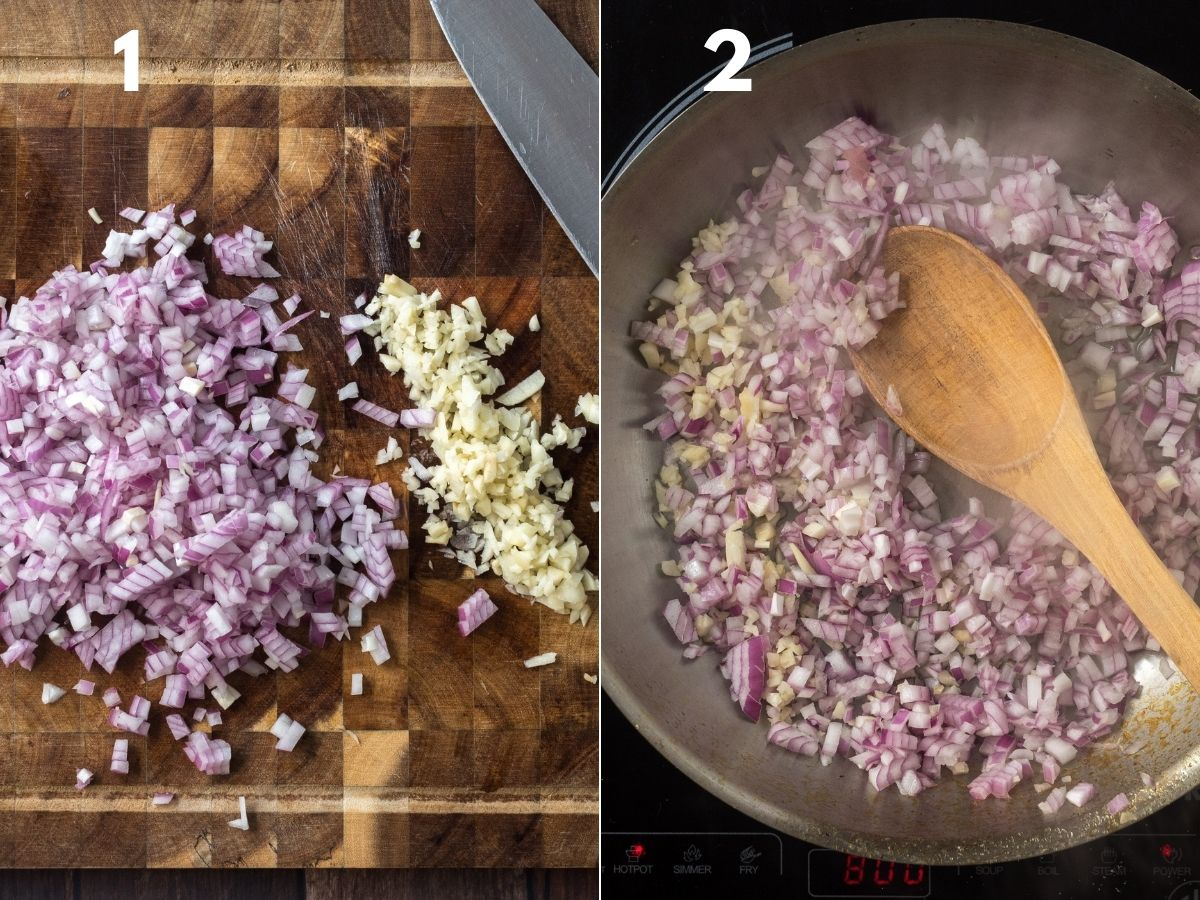 Red onions and garlic chopped into small pieces and in a pan cooking.