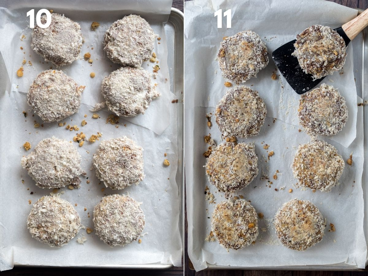 On the left, uncooked burgers on a baking sheet and on the right cooked with spatula