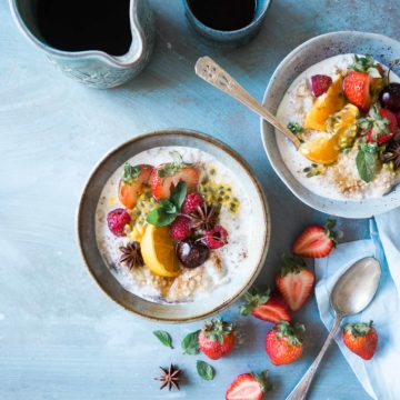 Healthy breakfast tips includes choosing foods you enjoy such as a yogurt bowl or oatmeal with fresh fruit.