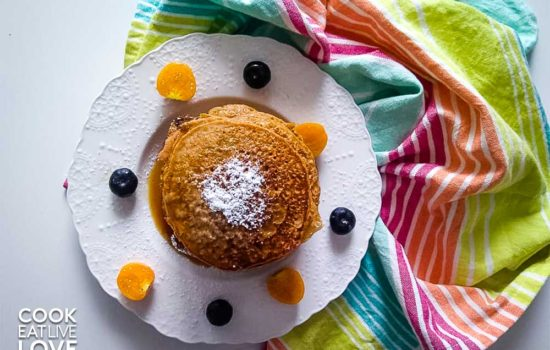 Whole Wheat Sweet Potato Pancakes with Citrus Spiced Syrup