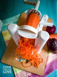 The spiralizer in action! One of my favorite essential cutting tools.