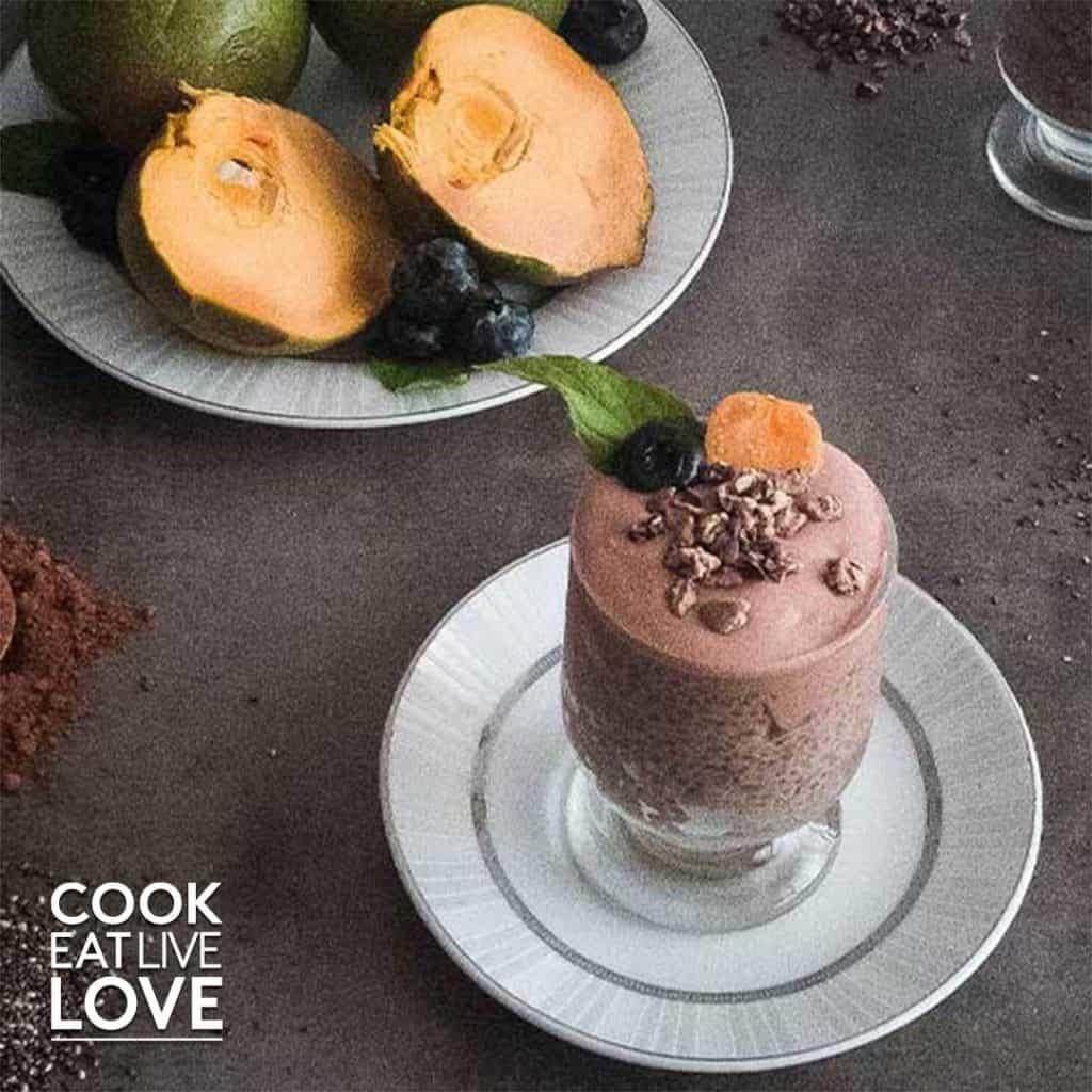 Lucuma chia pudding in glass dessert dish.