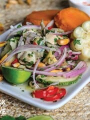 Vegan ceviche served up on white plate
