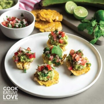 Baked tostones are topped with avocado and tomato salsa.