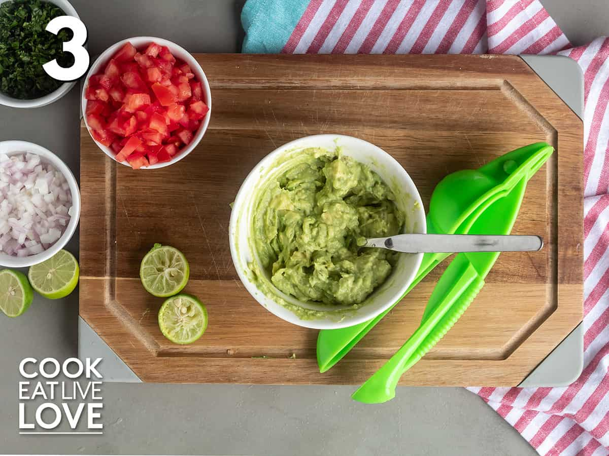 Mixing up the avocado topping