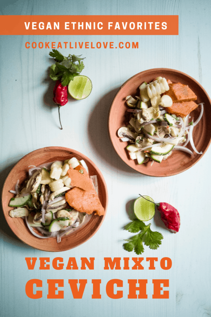 Pin for pinterest with overhead shot of plates of vegan mixto ceviche ready to eat.