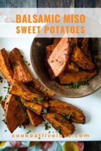 Balsamic miso sweet potato pin for pinterest