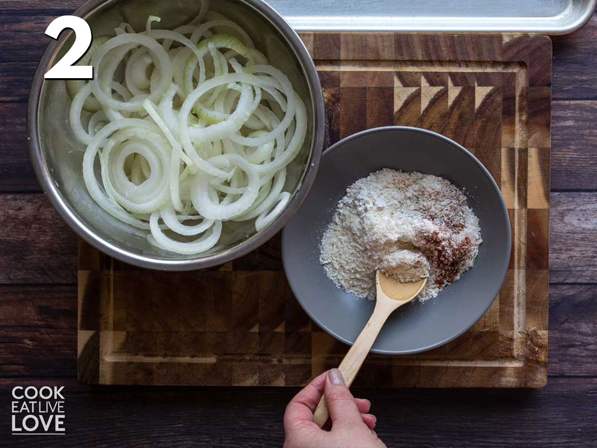 Mixing up the dry ingredients to coat the onions