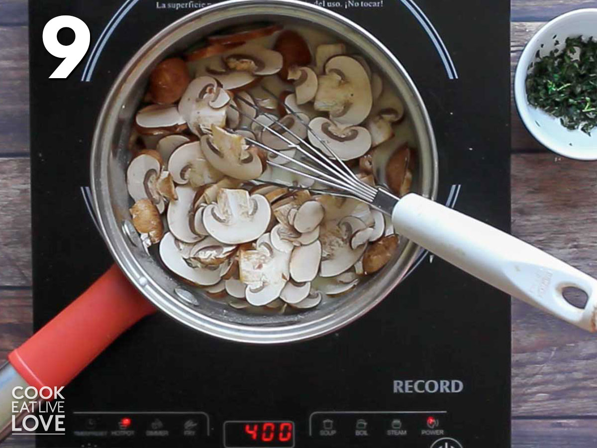 Mushrooms added to the pan for the sauce