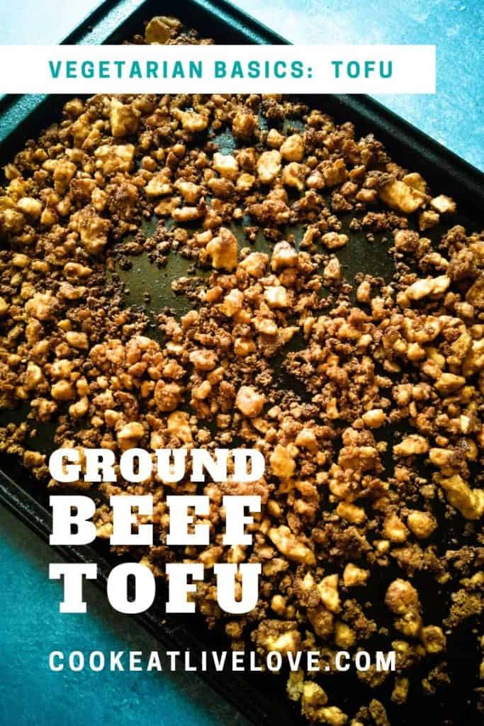 Pin for pinterest of ground beef tofu.