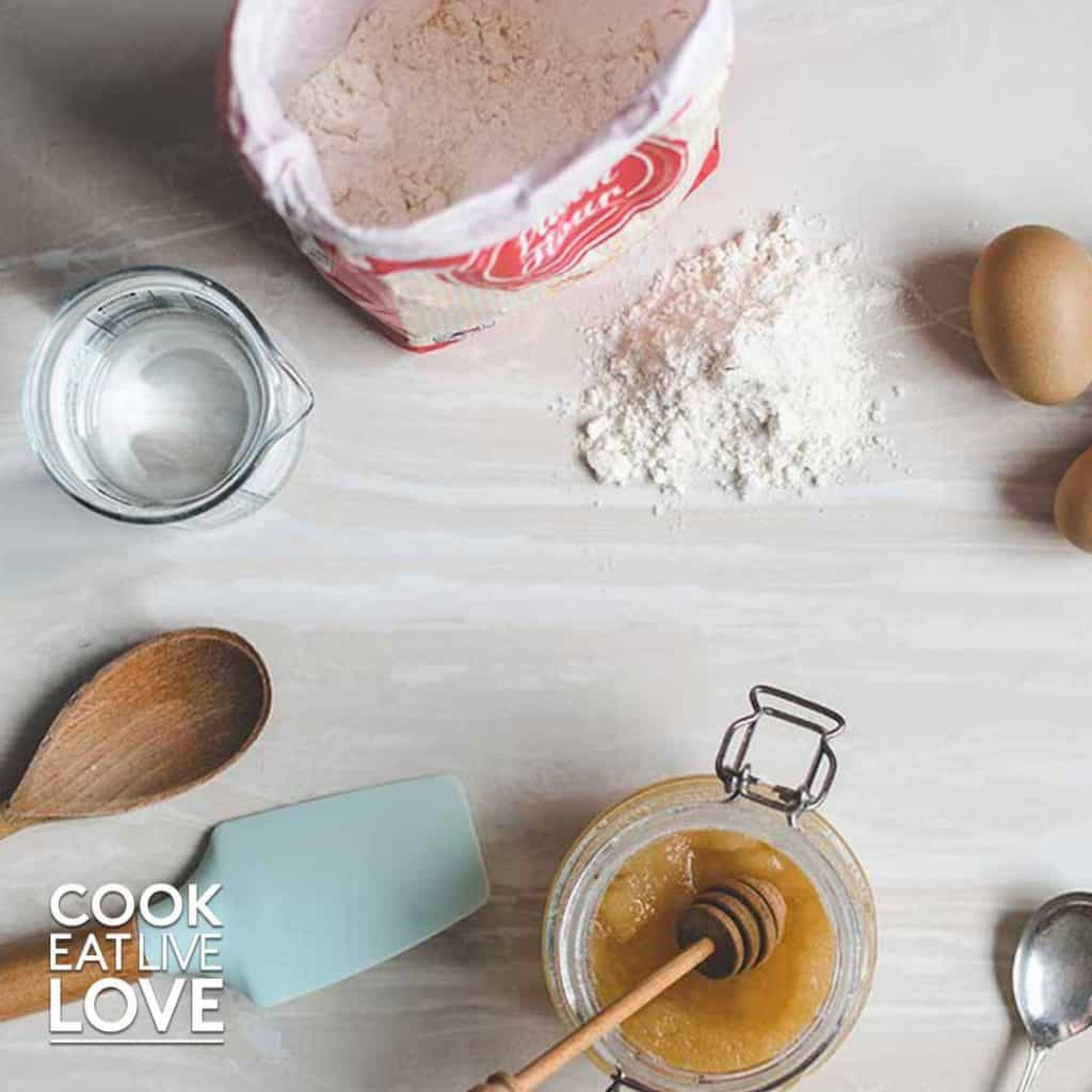 Ingredients and utensils for baking on a counter top