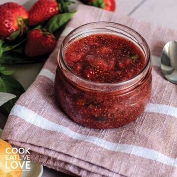 Jar of strawberry basil jam