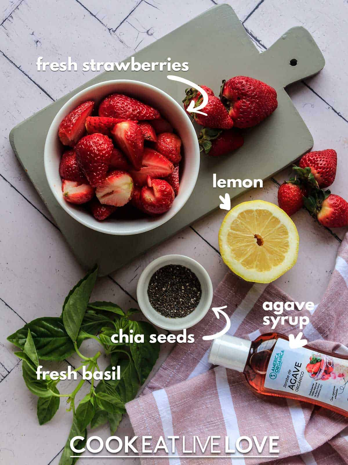 Ingredients for instant pot strawberry jam on the table