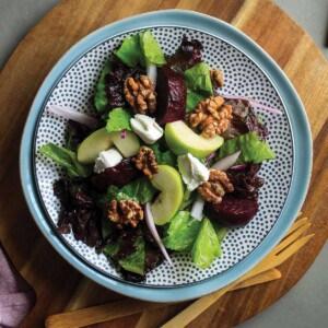 Roasted beetroot salad me on plate