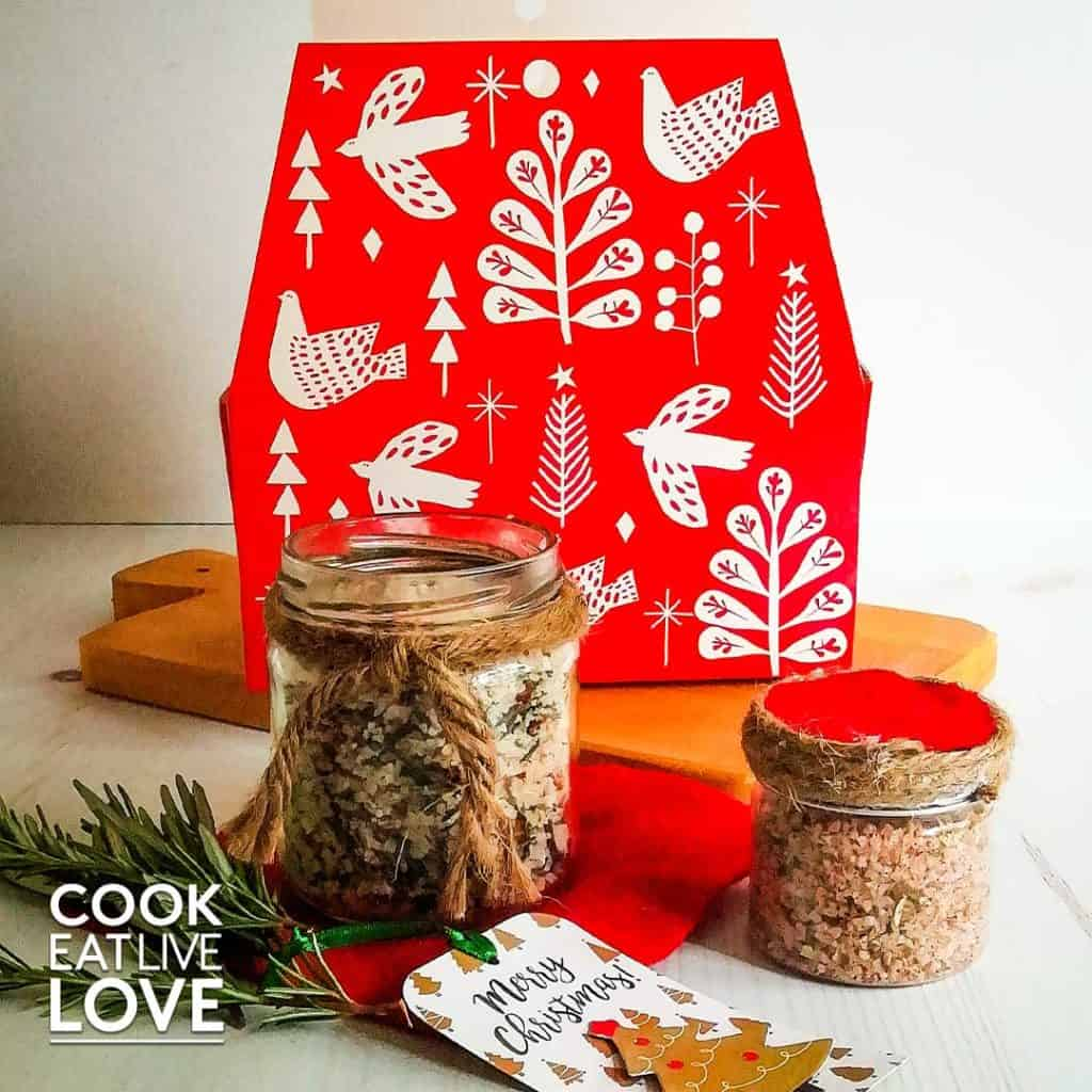 Easy food gifts include homemade herb salt blends in jars and with Christmas packaging.