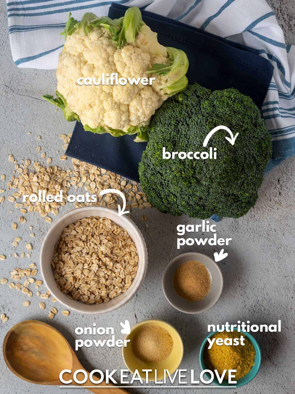 Ingredients to make savory oats instant pot on the table.