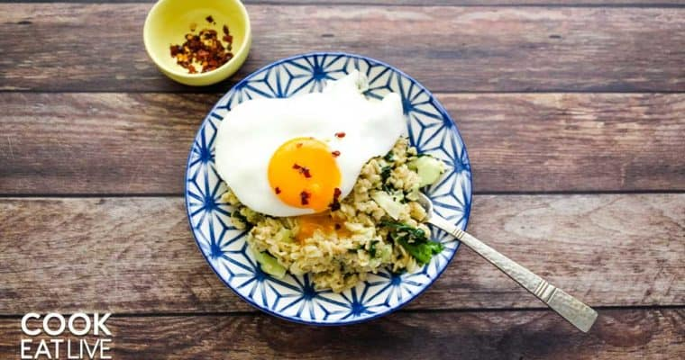 Eggs pictured in savory breakfast bowl are a great vegetarian food with vitamin d.