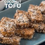 Pin for pinterest graphic for coconut tofu with image and text