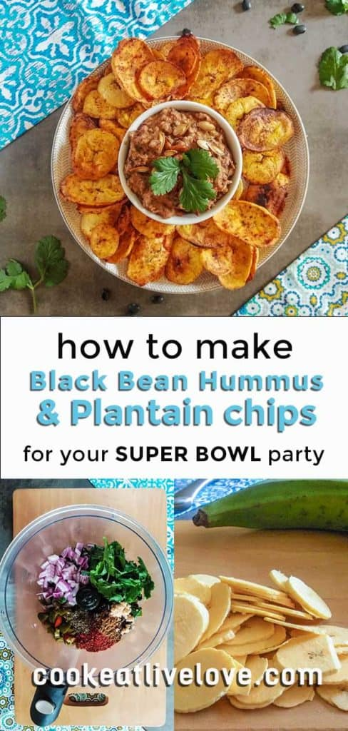 Spicy black bean hummus long pin with text for Super Bowl party.