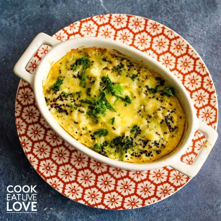 Closeup overhead shot of broccoli quinoa casserole in individual dish