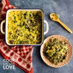 Baked broccoli quinoa casserole in serving dish and one serving on a plate to eat.