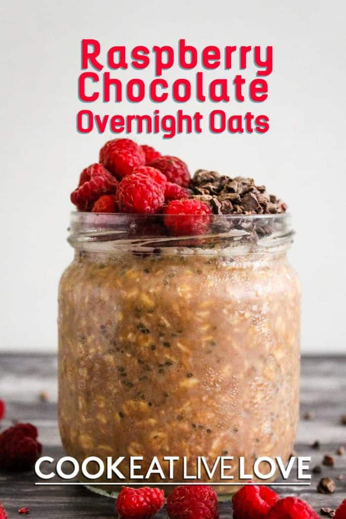 Pin for chocolate overnight oats with photo of front view of jar topped with raspberries and cacao nibs.