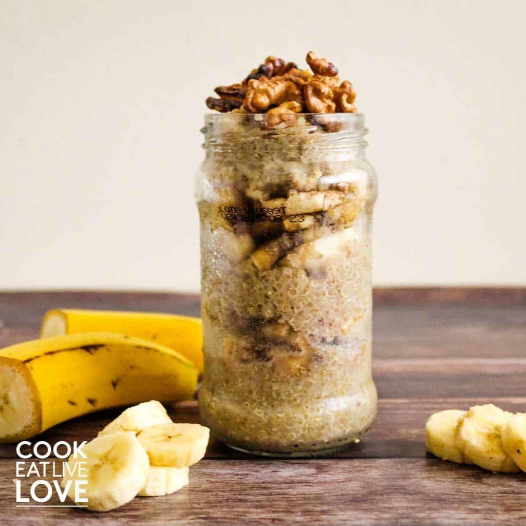 Shot of finished banana quinoa breakfast bowl in a jar.