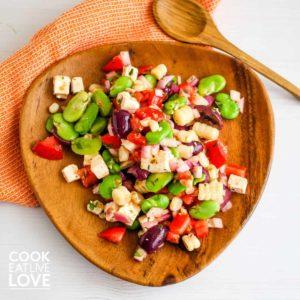 Solterito arequipeño a delicious peruvian chopped salad on a white platter.
