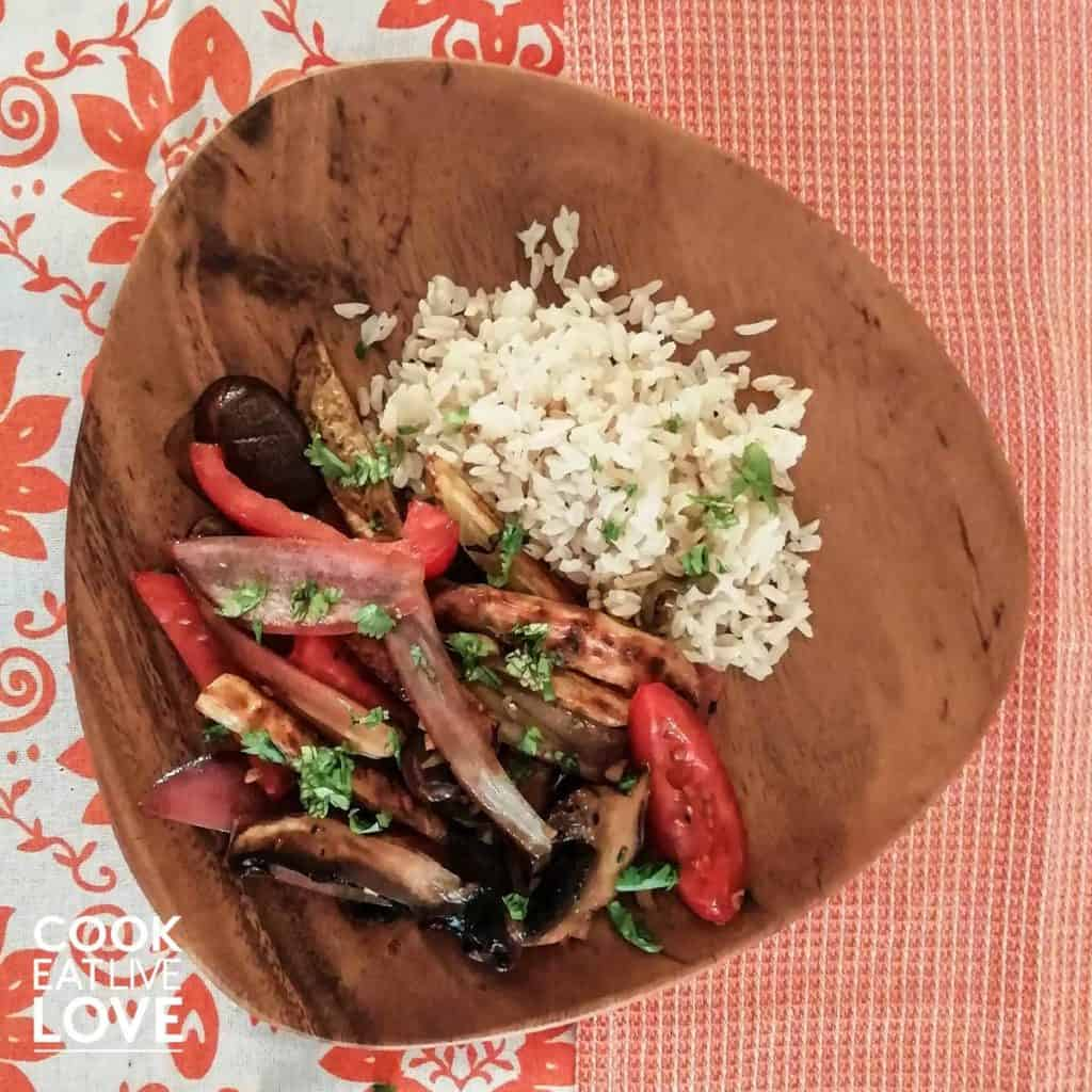 Plate of mushrooms and peppers with rice