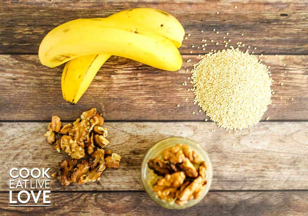 Overhead photo of ingredients included in quinoa breakfast bowl recipe