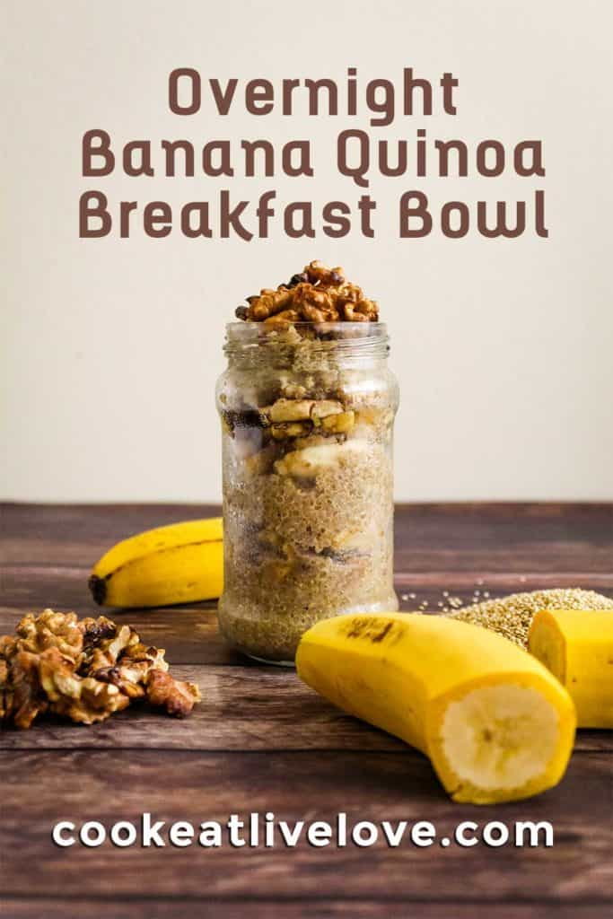 Pin for pinterest with picture of quinoa breakfast bowl and text on top.