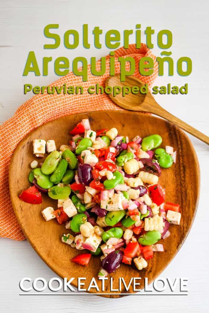 Another pin for pinterest of solterito arequipeno with salad on a wood platter and white background.