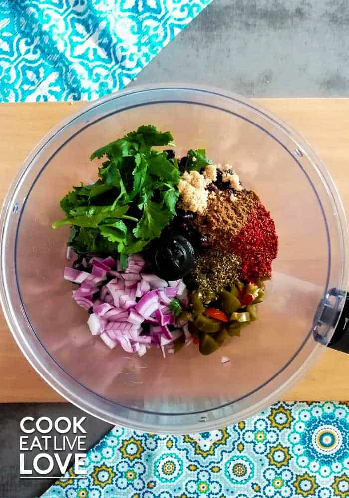 Ingredients in the food processor ready to blend.